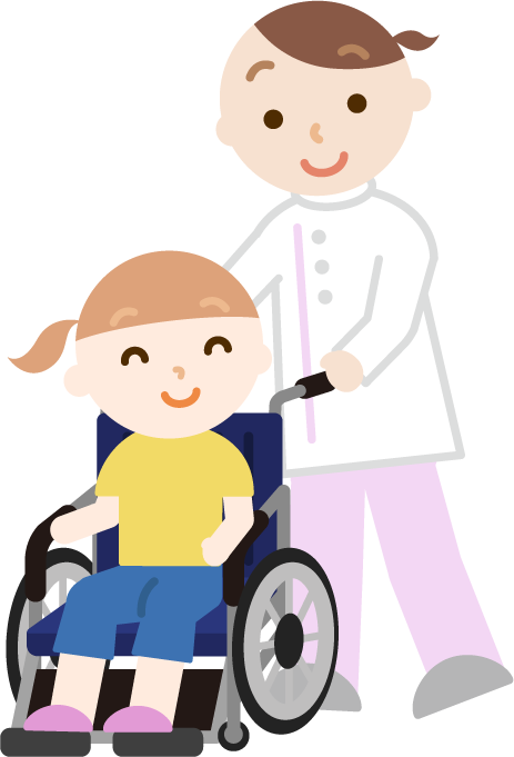 車椅子の女の子と介護士のイラスト