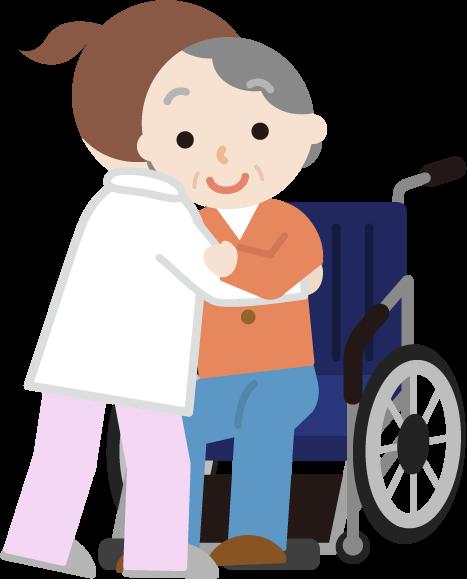 高齢者の女性が車椅子へ移乗介助されるイラスト