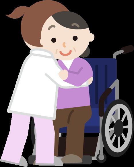 中年の女性が車椅子へ移乗介助されるイラスト