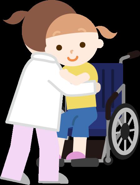 女の子が車椅子へ移乗介助されるイラスト
