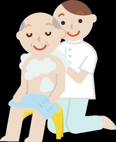 入浴介助のイラスト1(高齢者の男性)