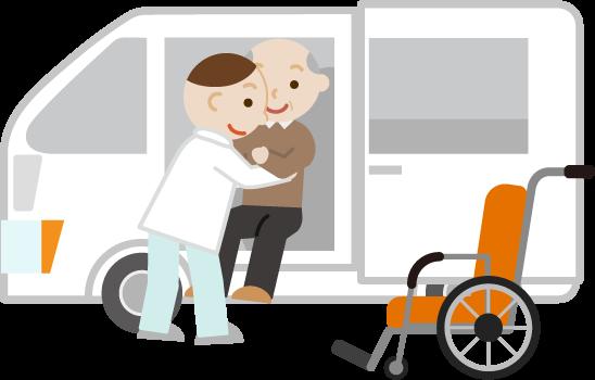 移乗介助のイラスト(高齢者男性)