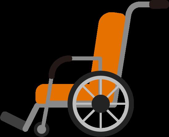横向きの車椅子のイラスト(オレンジ色)