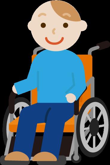 車椅子に座る若い男性のイラスト