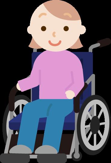 車椅子に座る若い女性のイラスト