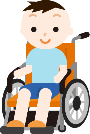 車椅子に座る男の子のイラスト