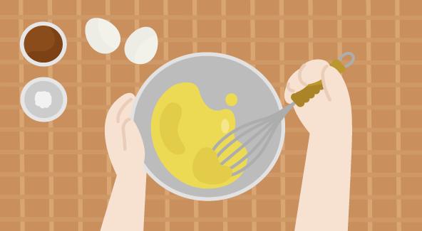 ボウルで卵を混ぜるイラスト