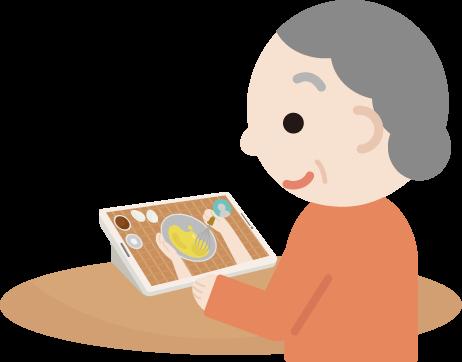 高齢者の女性がレシピ動画を見るイラスト