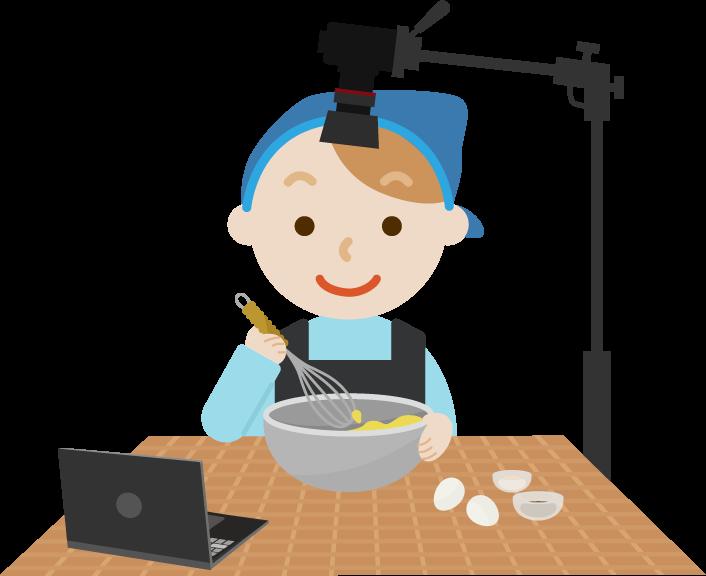 料理動画の撮影をする若い男性のイラスト