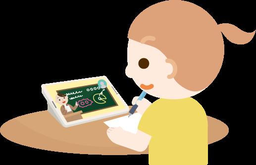 オンライン授業を受ける女の子のイラスト2