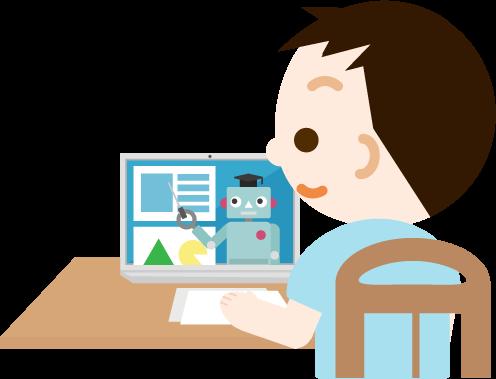 オンライン授業を受ける男の子のイラスト