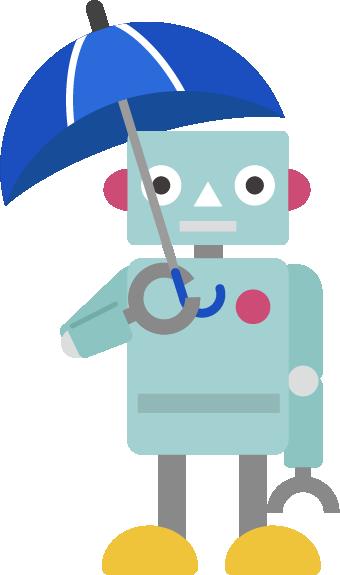 傘をさすロボットのイラストト