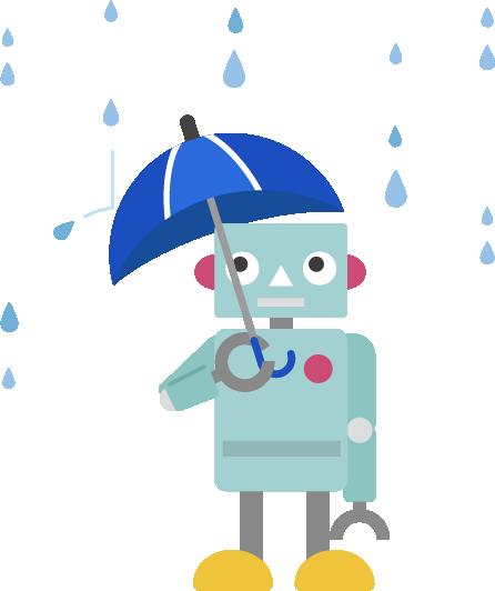 雨の日に傘をさすロボットのイラスト