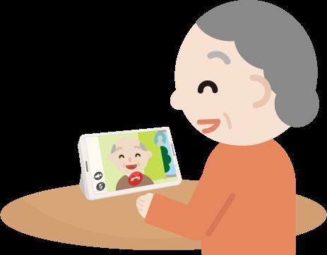 ビデオ電話をする高齢者の女性のイラスト