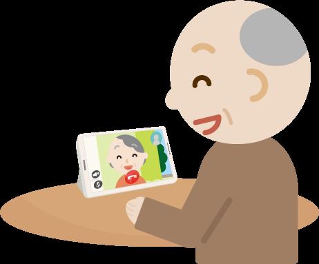 テレビ電話をする高齢者の男性のイラスト