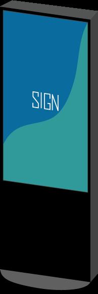 デジタルサイネージのイラスト(斜め・SIGN)