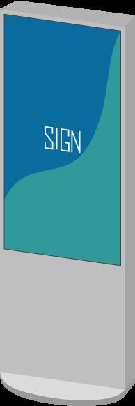 デジタルサイネージのイラスト2(斜め・SIGN)