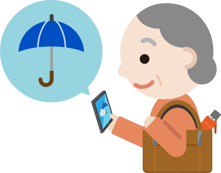 スマホで天気予報チェックする高齢者の女性のイラスト