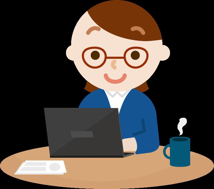 PCで仕事をする若い女性のイラスト