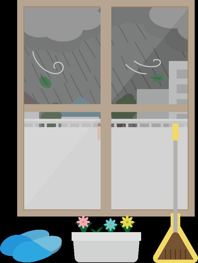 ベランダの物を室内に避難させるイラスト