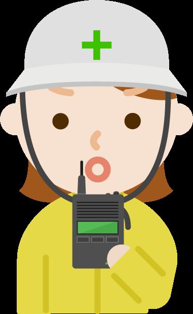 無線機を持つ女性のイラスト6