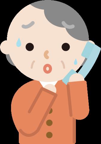 不審な電話を受けて困惑する高齢者の女性のイラスト
