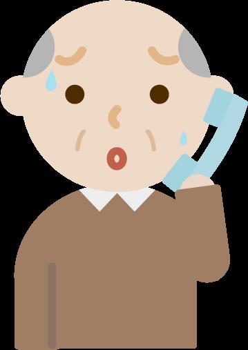 不審な電話を受けて困惑する高齢者の男性のイラスト