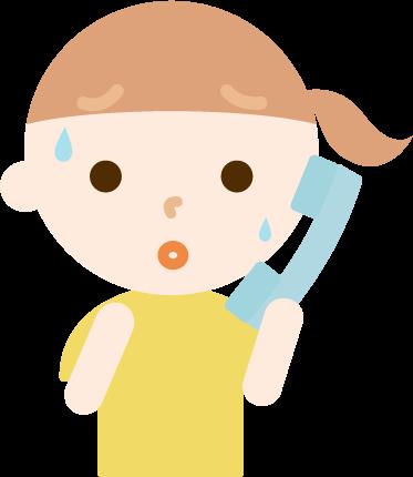 不審な電話を受けて困惑する女の子のイラスト