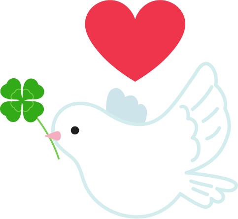 平和の象徴の鳩のイラスト(ハート)