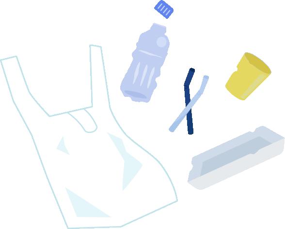 プラスチックごみのイラスト