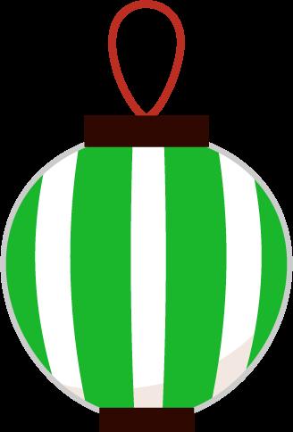 祭りの提灯のイラスト(緑縞)