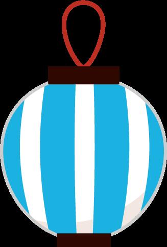 祭りの提灯のイラスト(青縞)