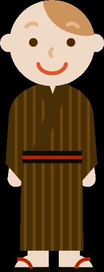 浴衣を着た若い男性のイラスト1