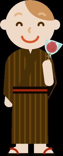 浴衣を着た若い男性のイラスト2