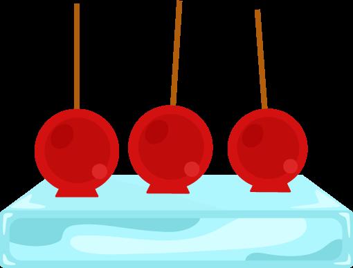 氷の上に乗ったりんご飴のイラスト