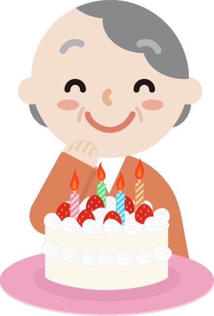誕生日のケーキを喜ぶ高齢者の女性のイラスト