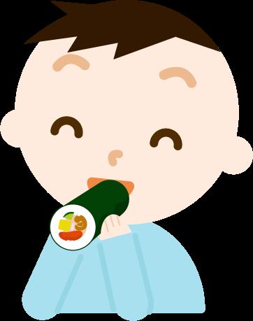 恵方巻きを食べる男の子のイラスト
