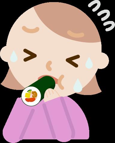 恵方巻きを食べる若い女性のイラスト(苦しい)