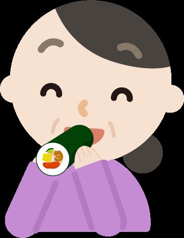 中年の女性が恵方巻きを食べるイラスト(笑顔)
