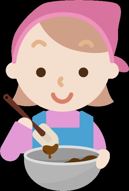 チョコ作りのイラスト(若い女性)