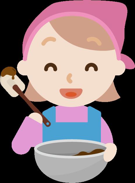 チョコ作りのイラスト(若い女性2)