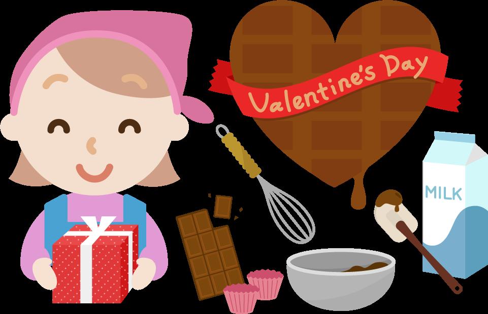 バレンタインのイラスト(若い女性1)