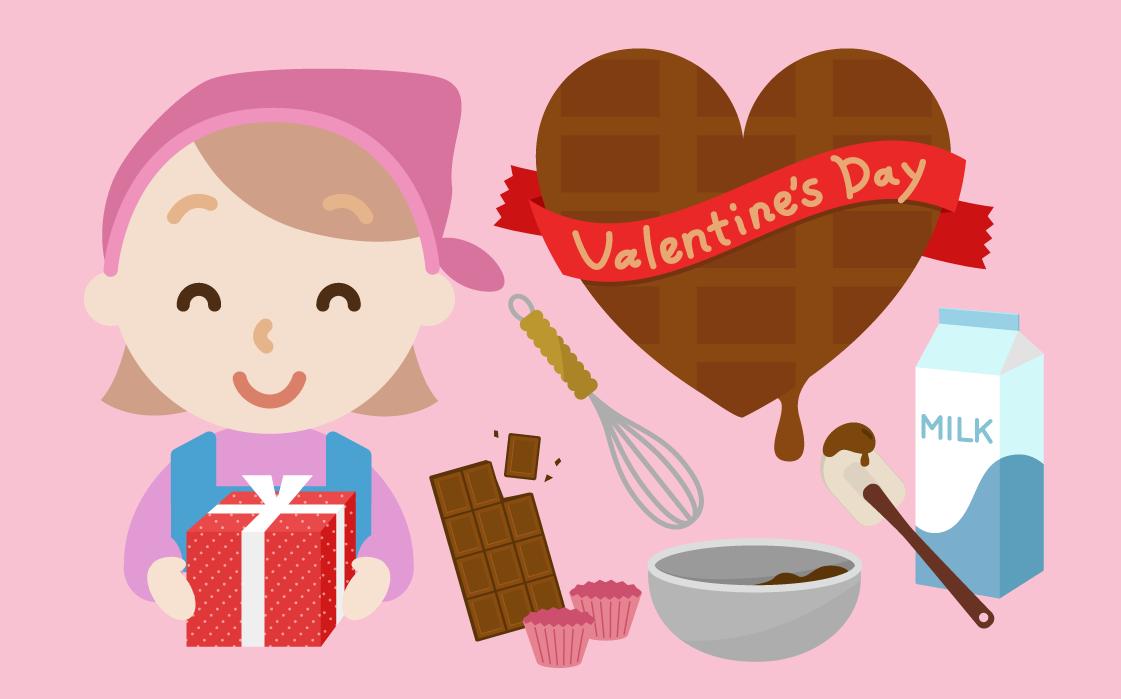 バレンタインのイラスト(若い女性2)