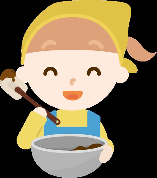 チョコ作りのイラスト(女の子2)