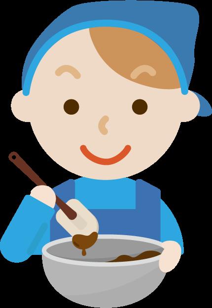 チョコ作りのイラスト(若い男性1)