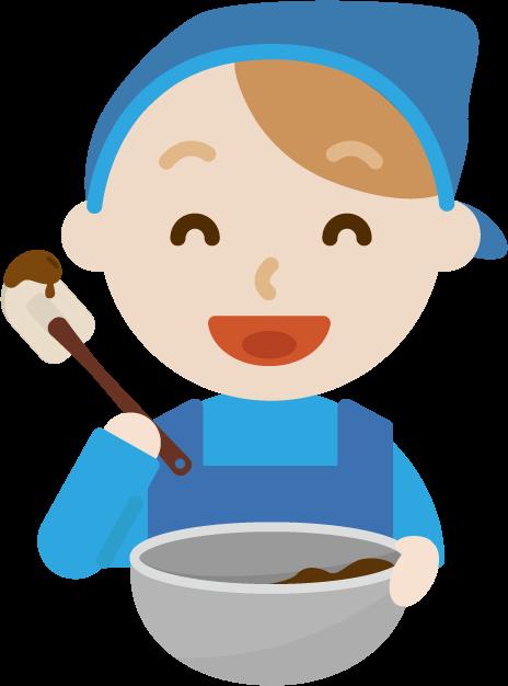 チョコ作りのイラスト(若い男性2)