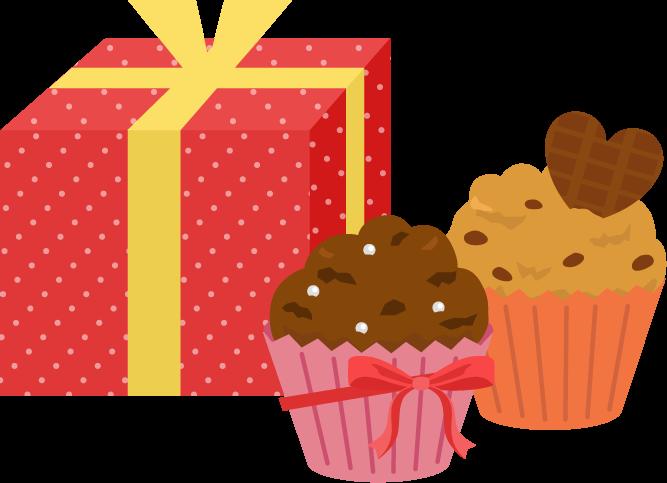 手作りカップケーキとプレゼントのイラスト