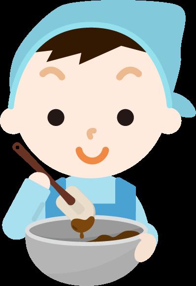 チョコ作りのイラスト(男の子1)