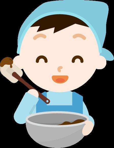 チョコ作りのイラスト(男の子2)