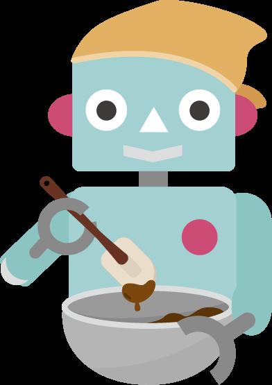 チョコ作りのイラスト(ロボット1)